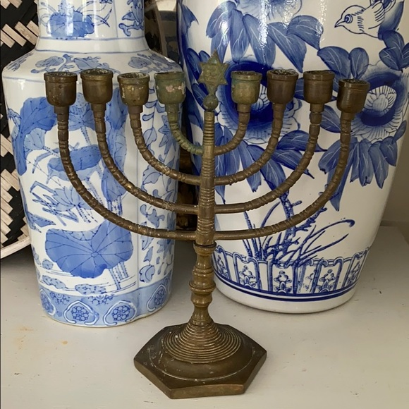 Vintage Other - VINTAGE BRASS CHANUKAH MENORAH